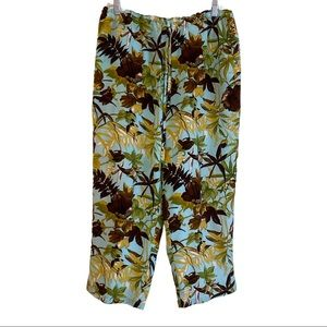 Ann May Womens Floral Silk Lined Capris Pant